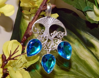 Male Fairy Prince inspired vessel - Handcrafted Blue Topaz pendant with chain
