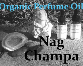 NAG CHAMPA Organic Perfume Oil | Boho Collection, many sizes | handmade with essential oils crystal and herbs