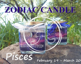 PISCES ZODIAC scented Jar Candle, Ritual, Prayer candle - 100% Hand-crafted with soy wax, herbs and essential oils