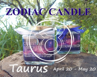 TAURUS ZODIAC scented Jar Candle, Ritual, Prayer candle - 100% Hand-crafted with soy wax, herbs and essential oils