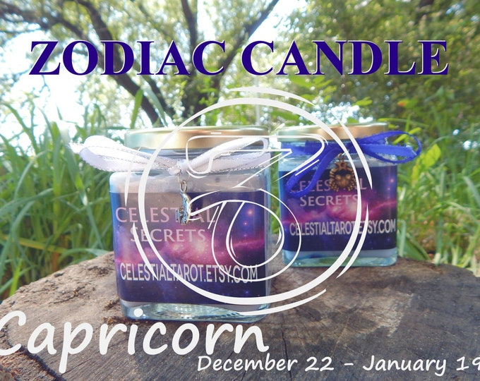 CAPRICORN ZODIAC scented Jar Candle, Ritual, Prayer candle - 100% Hand-crafted with soy wax, herbs and essential oils