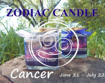CANCER ZODIAC scented Jar Candle, Ritual, Prayer candle - 100% Hand-crafted with soy wax, herbs and essential oils