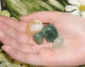 ABUNDANCE/PROSPERITY/LUCK Crystal Therapy Set 3-4 gemstones - prepared by 2x certified Reiki master - hand selected tumbled natural stones