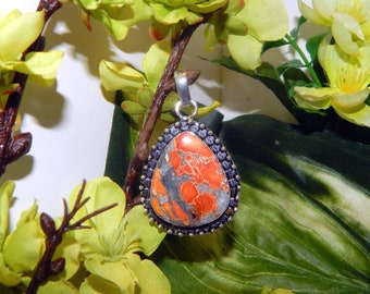 CHARMING Werecat Lynx Shifter inspired vessel - Handcrafted Orange Jasper pendant with chain - Wicca Pagan Witchcraft