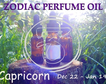CAPRICORN ZODIAC PERFUME Oil, three sizes | for altar body anointing | High quality organic handmade with essential oils, crystals & herbs