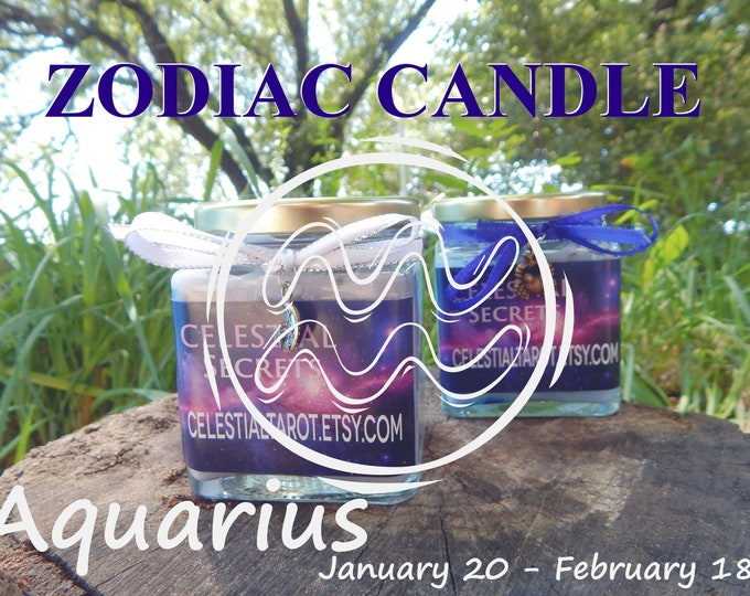 AQUARIUS ZODIAC scented Jar Candle, Ritual, Prayer candle - 100% Hand-crafted with soy wax, herbs and essential oils