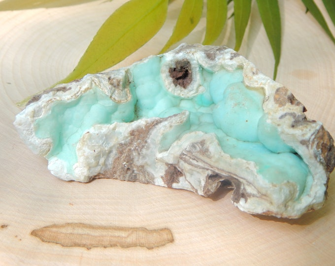Blue HEMIMORPHITE botryoidal gematone in matrix natural 4.4 oz China locale - Reiki Wicca Pagan Geology gemstone lightwork