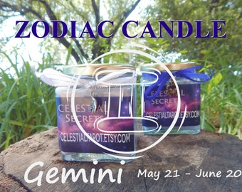 GEMINI ZODIAC scented Jar Candle, Ritual, Prayer candle - 100% Hand-crafted with soy wax, herbs and essential oils