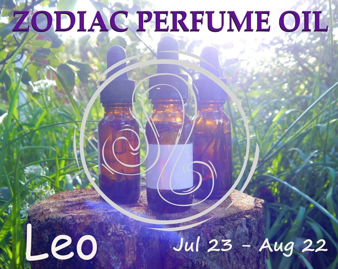 LEO ZODIAC PERFUME Oil, three sizes | for altar body anointing | High quality organic handmade with essential oils, crystals & herbs