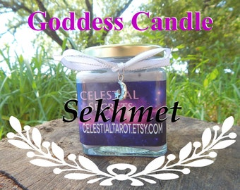 SEKHMET Ritual Jar Candle, GODDESS Prayer candle - 100% Hand-crafted with soy wax, herbs and essential oils