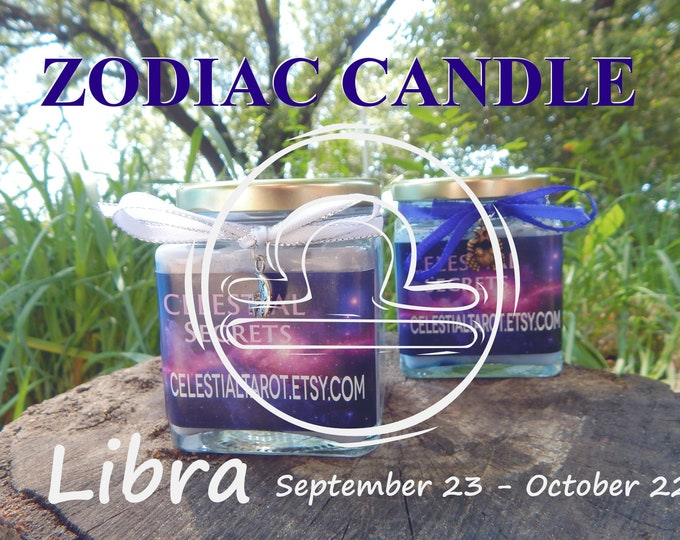 LIBRA ZODIAC scented Jar Candle, Ritual, Prayer candle - 100% Hand-crafted with soy wax, herbs and essential oils