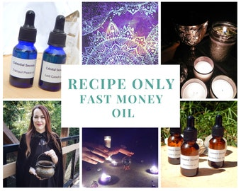 FAST MONEY Oil recipe only BOS page .Docx xml file instant download - Pagan witchcraft diy for spellwork wicca wiccan book of shadows page