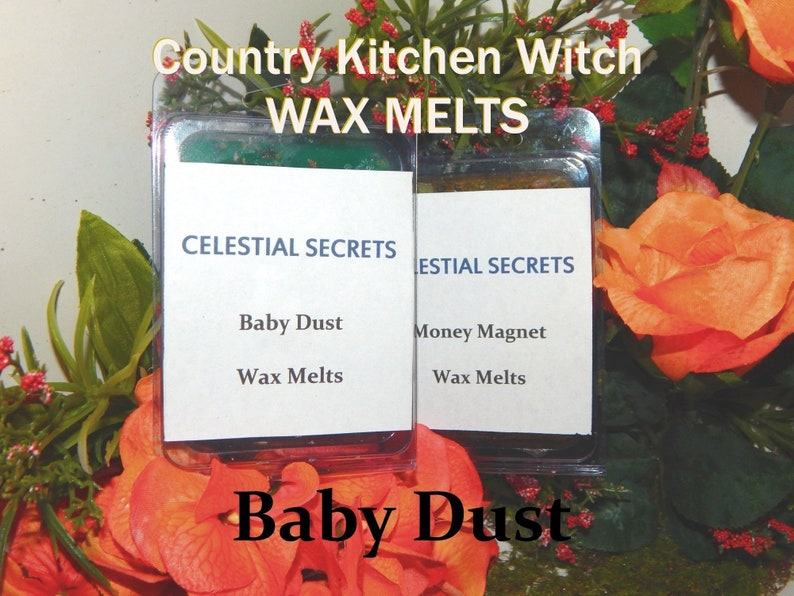 charged wax tart 6 piece 100/% Hand-crafted with herbs and essential oils Pagan Wicca Witchcraft Baby Dust INTENTION WAX MELT