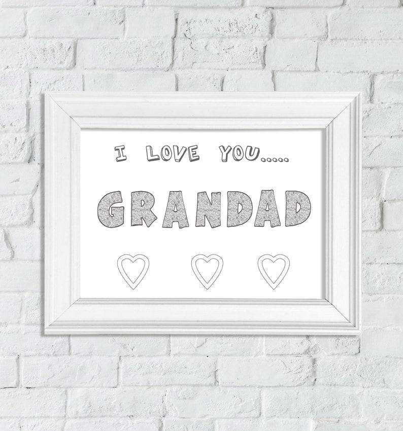 Digital Download I love you Grandad Coloring page Printable wall Art Print at home