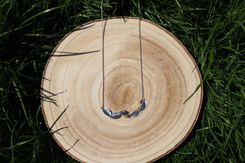 Sterling silver Leaf Bar Necklace five leaves bar pendant