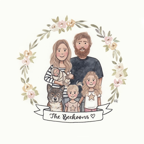 Family Portrait Illustration Custom Cartoon Family Portrait Etsy Choose from 630+ cartoon family graphic resources and download in the form of png, eps, ai or psd. family portrait illustration custom cartoon family portrait custom portrait couple portrait custom illustration