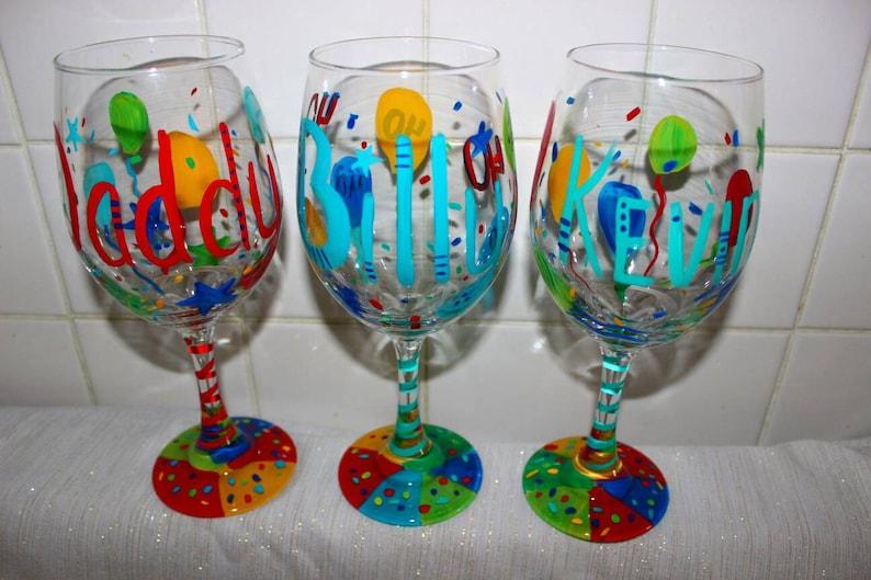 Birthday Wine Glasses Custom Hand Painted