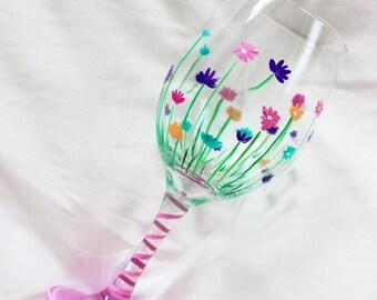 Flower wine glass, Hand painted wine glass, Spring, Custom wine glasses, Gift for Mom