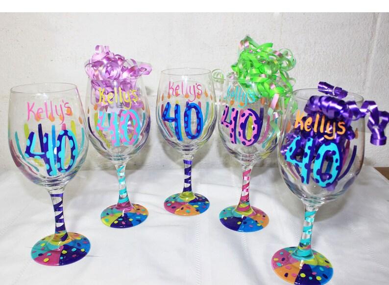 Birthday Wine Glass Custom Glasses Hand Painted