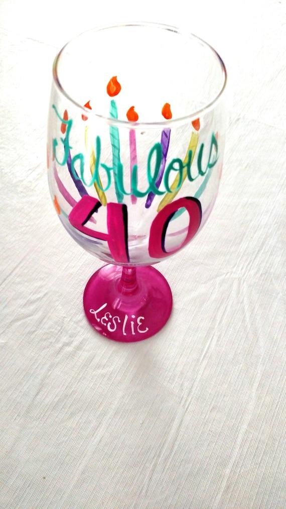40th Birthday Gift Custom Wine Glass Hand Painted