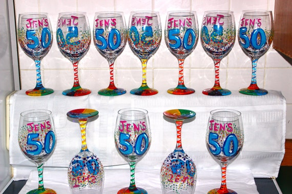 Birthday Party Favors Wine Glasses Custom