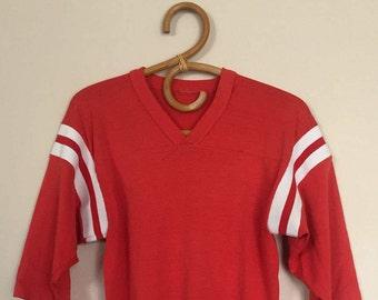 Vintage Red V Neck X Long Athletic Tshirt