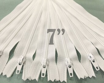 "25 7"" zippers ykk zippers nylon zippers white zippers wholesale zippers sampler pack zipper 7 inch ykk zippers - 25 pieces NYL07"