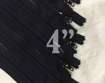 "10 black zippers bulk zippers black zippers wholesale zippers 4 inch zippers ykk zippers 4"" zippers 4 inch ykk zippers - 10 pieces NYL04"