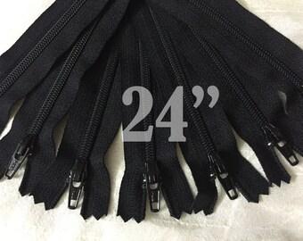 "24"" zippers ykk zippers nylon zippers black zippers wholesale zippers sampler pack zipper 24 inch ykk zippers bulk zippers - 10 pieces NYL24"