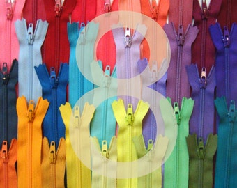 8 Inch YKK Zippers - Choose Your Colors - 25 Pieces NYL08
