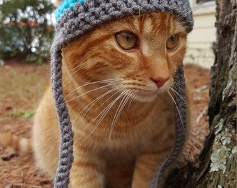 Pom Pom Cat Hat, Pom Pom Hat for Cats, Pom Pom Beanie for Cats, Pom Pom Cat Beanie, Cat Toboggan, Toboggan for Cat