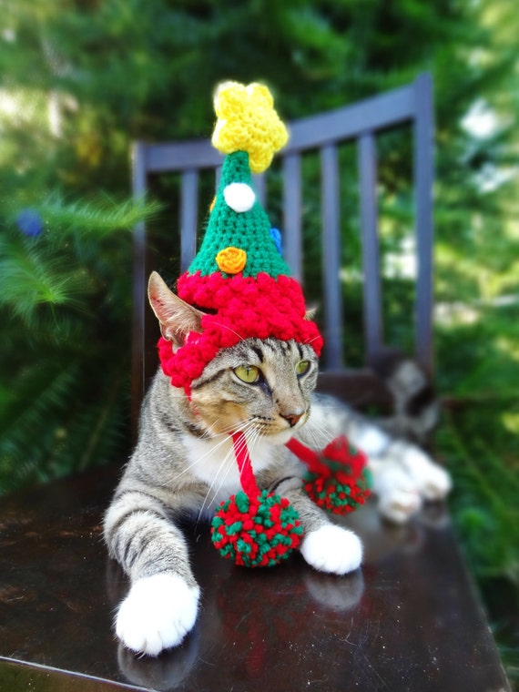 image 0 - Christmas Cat Costume Hat The Christmas Tree Hat For Cats Etsy