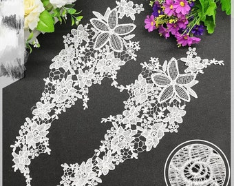 Collar Applique Flower Hollow-out Patterns Embroidered Water Soluble Wedding  Dress Accessories Dress Decoration for One Pair 32cfbc31e712