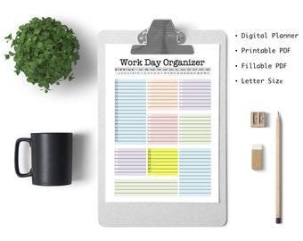 Blank Work Day Organizer - diy planner page, work planner, printable planner, digital planner, to do list, planner, daily, weekly, fillable