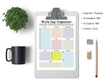 Work Day Organizer - planner page, work planner, printable planner, digital planner, to do list, planner, daily, weekly, fillable pdf