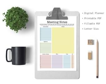 Meeting Notes - printable pdf, work organizer, office organizer, meeting agenda, fillable pfd, digital planner, meeting notes planner