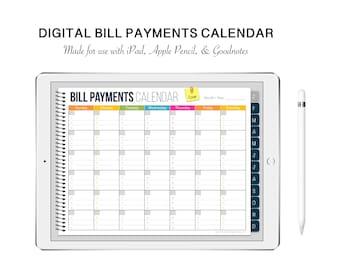 Digital Bill Payments Calendar - ipad, apple pencil, goodnotes, monthly calendar, digital bill organizer, digital planner,