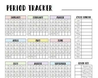 Period Tracker - menstrual cycle tracker, period calendar, printable, digital download, digital period tracker, menstrual log, ttc