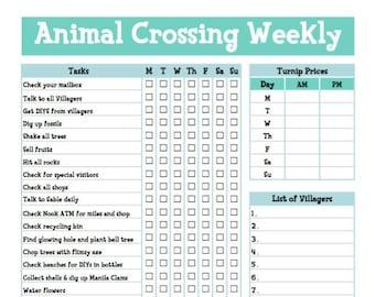 Animal Crossing New Horizons Weekly Checklist - To Dos - Animal Crossing Daily Tasks - ACNH - Animal Crossing Checklist - Printable