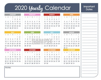 2020 Printable Calendar Yearly - 2019 Calendar