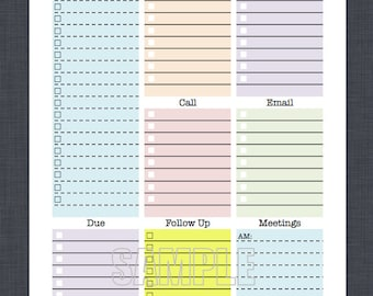 mini work organizer half letter size printable planner page editable daily planner weekly planner to do checklist
