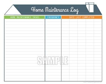 Home inventory organizing printable editable household etsy home maintenance log printable and editable organizing pdf instant download maxwellsz