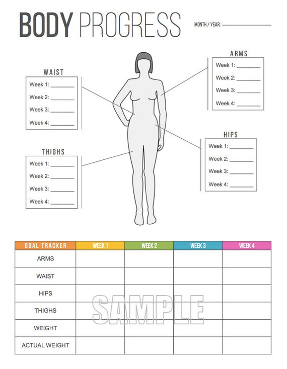 body progress tracker printable body measurements tracker weight tracker health and fitness instant download