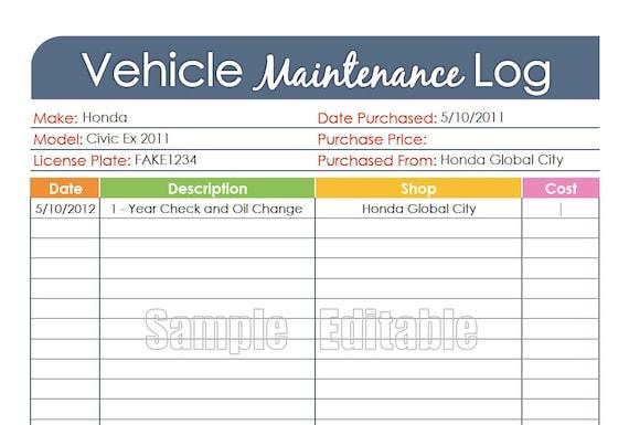 vehicle maintenance log car maintenance log editable etsy
