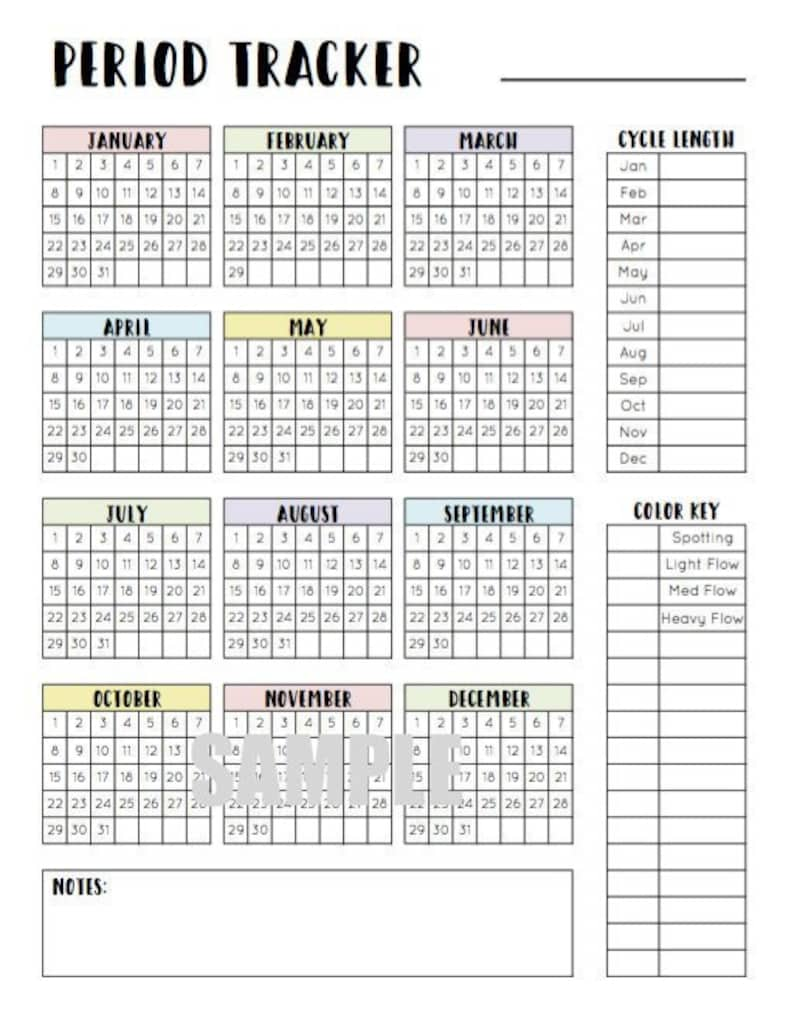 Period Tracker menstrual cycle tracker period calendar | EtsyMenstrual Cycle Calendar Printable