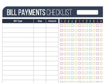 Bill Payment Checklist Printable - Fillable - Personal Finance Organizing pdf - INSTANT DOWNLOAD