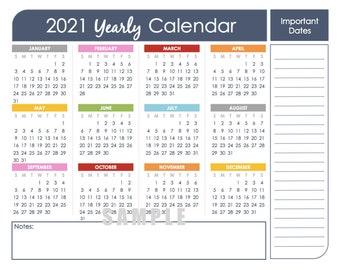 2021 Printable Calendar Yearly - 2021 Calendar