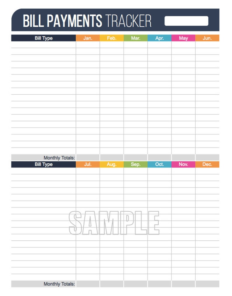 photograph relating to Bill Payment Tracker Printable called Invoice Expenditures Tracker Printable - Fillable - Person Finance Setting up pdf - Prompt Down load