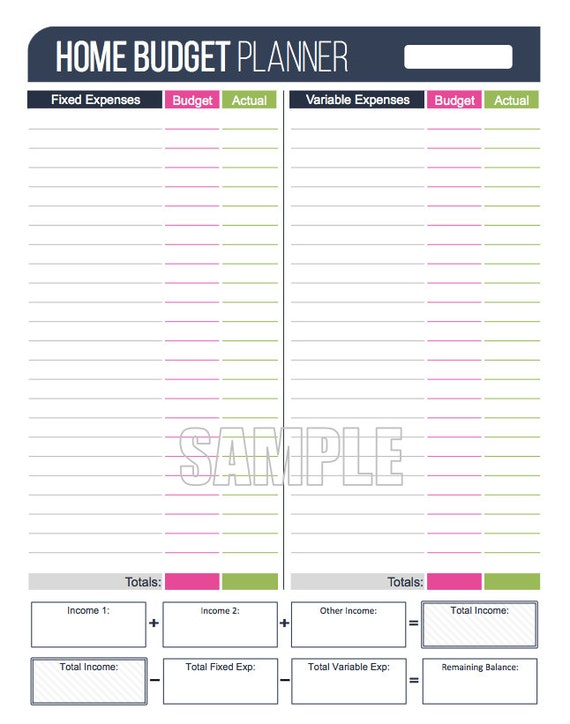 home budget planner worksheet editable personal finance etsy