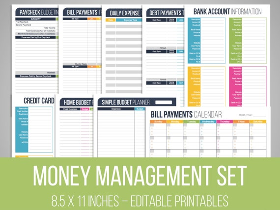 money management set editable financial printables bill etsy